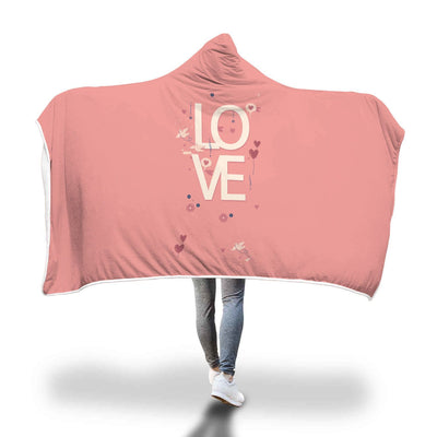 Pink Love Design Hooded Blanket - Get Set Style Metro