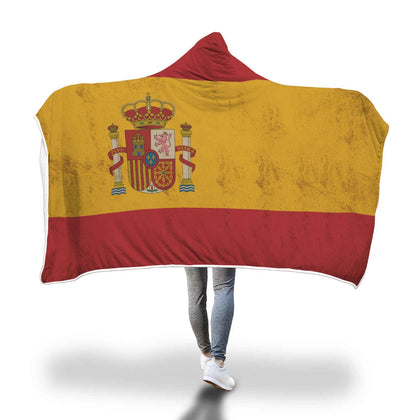 SPAIN FLAG CUSTOM DESIGNED HOODED BLANKET - Get Set Style Metro