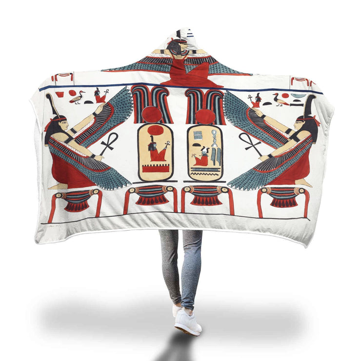 "GetSetStyleMetro Hooded Blanket Adult 80""x55"" Tableau Representing The Two Niches In Thebes by Giovanni Battista Belzoni Hooded Blanket"