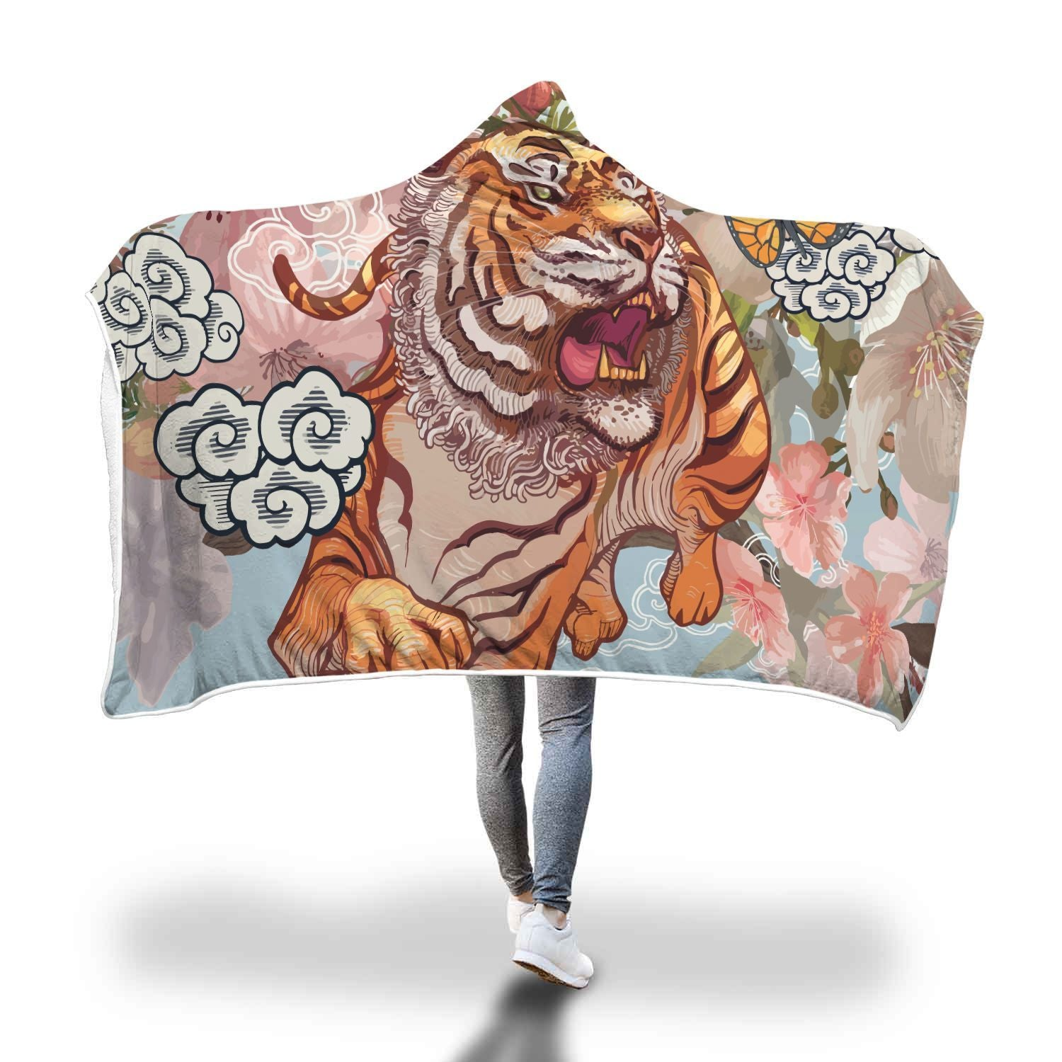 Tiger And Butterfly During Cherry Blossom Illustration Hooded Blanket - Get Set Style Metro