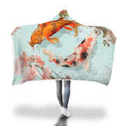 Two Japanese Koi Fish Swimming Design Hooded Blanket - Get Set Style Metro