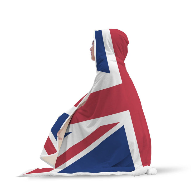 "GetSetStyleMetro Hooded Blanket Adult 80""x55"" United Kingdom Flag Custom Designed Hooded Blanket"