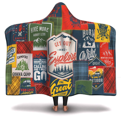 Premium Camping Patchwork Hooded Blanket - Get Set Style Metro