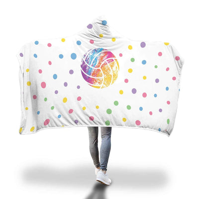 Personalized Color Volleyball Hooded Blanket - Get Set Style Metro