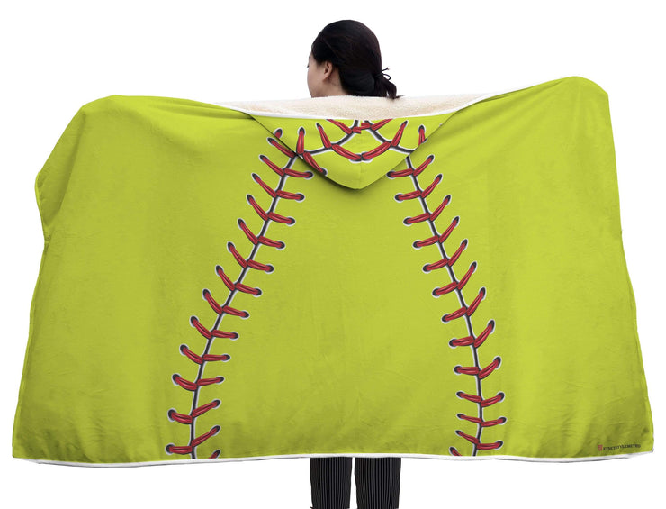 Personalized Softball Baseball Yellow Hooded Blanket - Get Set Style Metro
