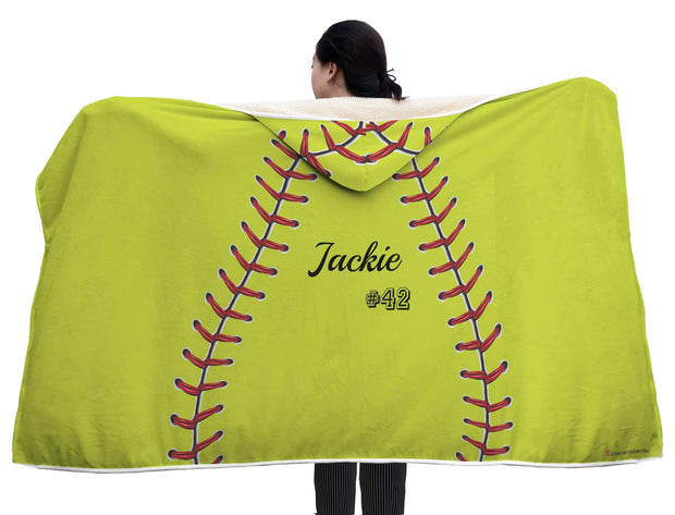 GetSetStyleMetro Hooded Blanket Personalized Softball Baseball Yellow Hooded Blanket