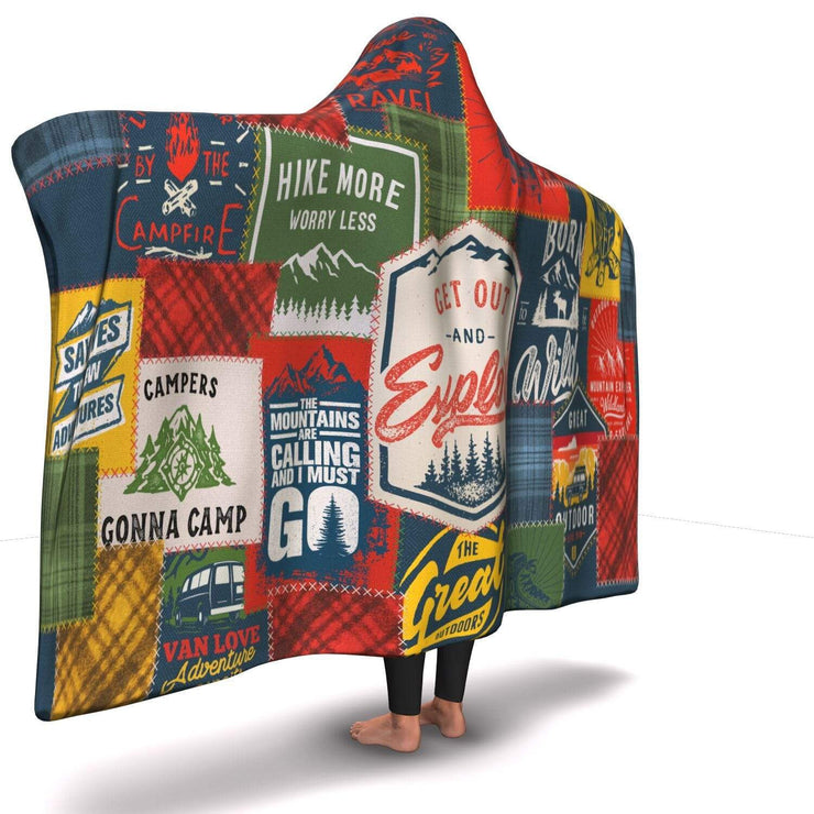 GetSetStyleMetro Hooded Blanket Premium Camping Patchwork Hooded Blanket