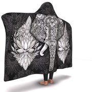 GetSetStyleMetro Hooded Blanket Premium Elephant Mandala Black Hooded Blanket