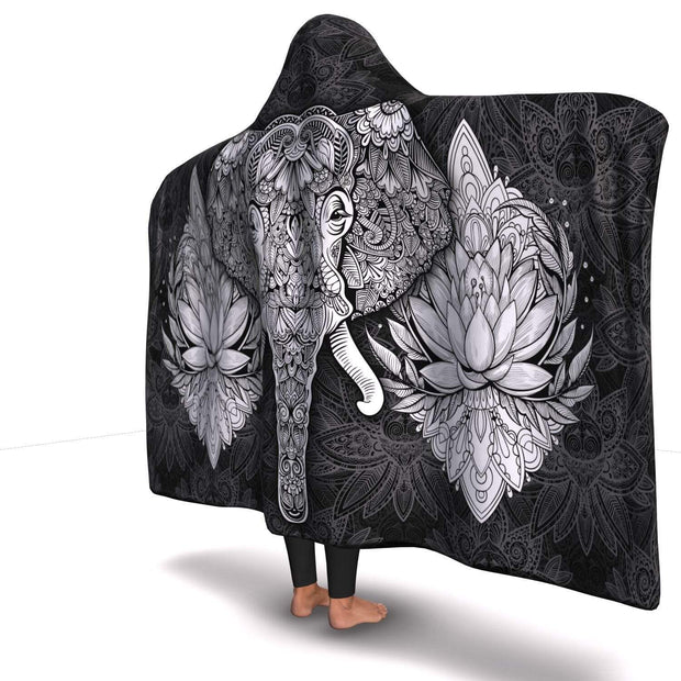 Premium Elephant Mandala Black Hooded Blanket - Get Set Style Metro