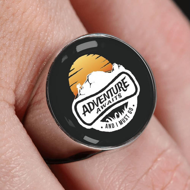 Awesome Custom Design Adventure Awaits Hiking Ring - Get Set Style Metro