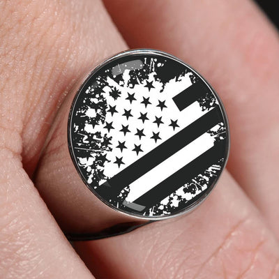 Awesome Custom Design Black and White American Ring - Get Set Style Metro