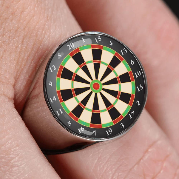 GetSetStyleMetro Ring Stainless Steel Signet Ring Awesome Custom Design Dartboard Ring