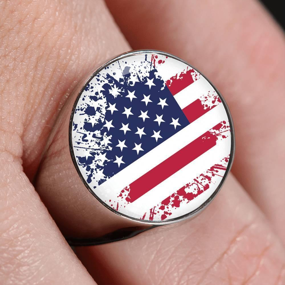 Awesome Custom Design Faded American Flag Ring - Get Set Style Metro
