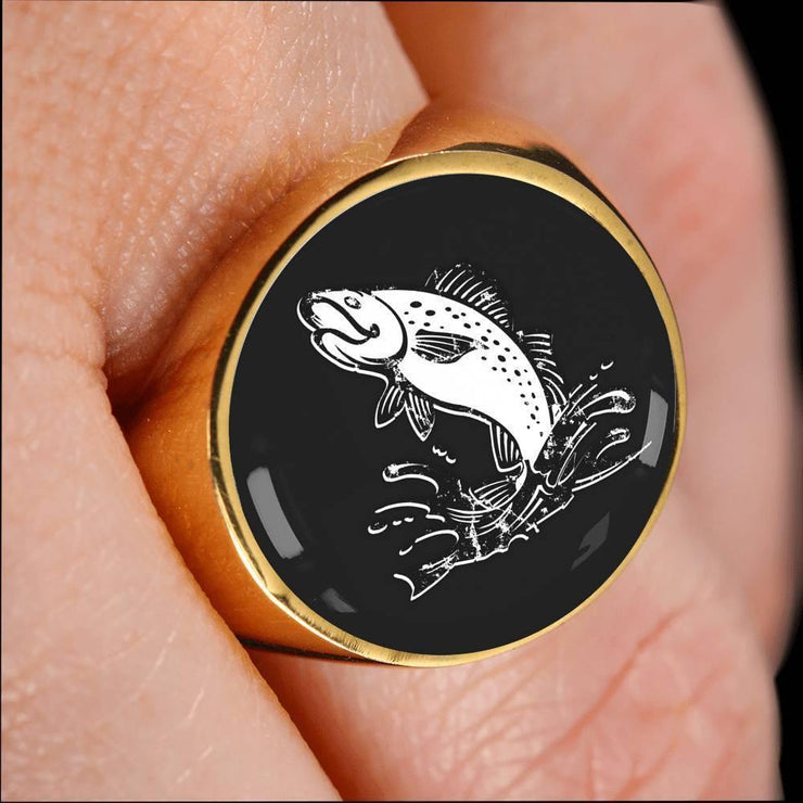Awesome Custom Design Fish In Splash Ring - Get Set Style Metro