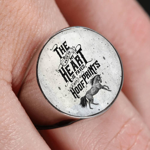GetSetStyleMetro Ring Stainless Steel Signet Ring Awesome Custom Design Horse With Quote Ring