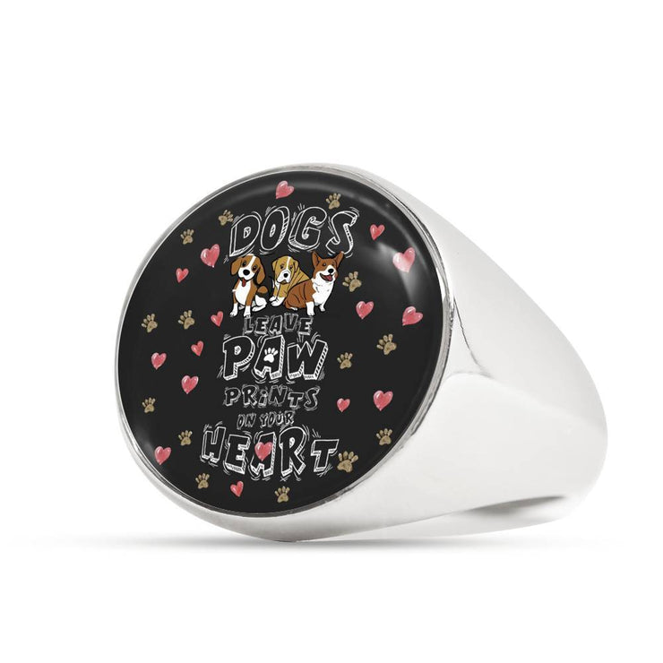 Custom Design Dogs Leave Paw Prints On Your Heart Ring - Get Set Style Metro
