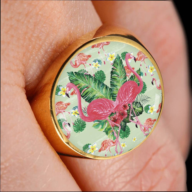 Lovely Custom Design Double Flamingo Ring - Get Set Style Metro
