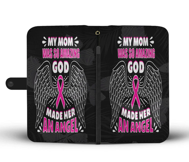 Breast Cancer God Made My Mom An Angel Black RFID Wallet Phone Case - Get Set Style Metro