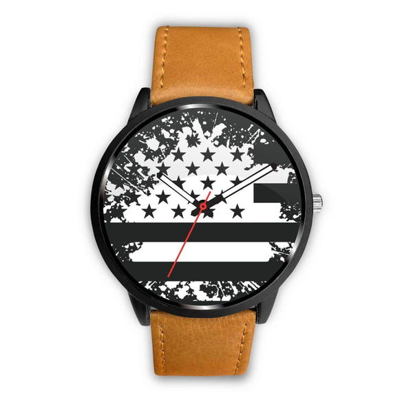 GetSetStyleMetro Watch Mens 40mm / Brown Awesome Black ad White American Flag Customized Design Watch