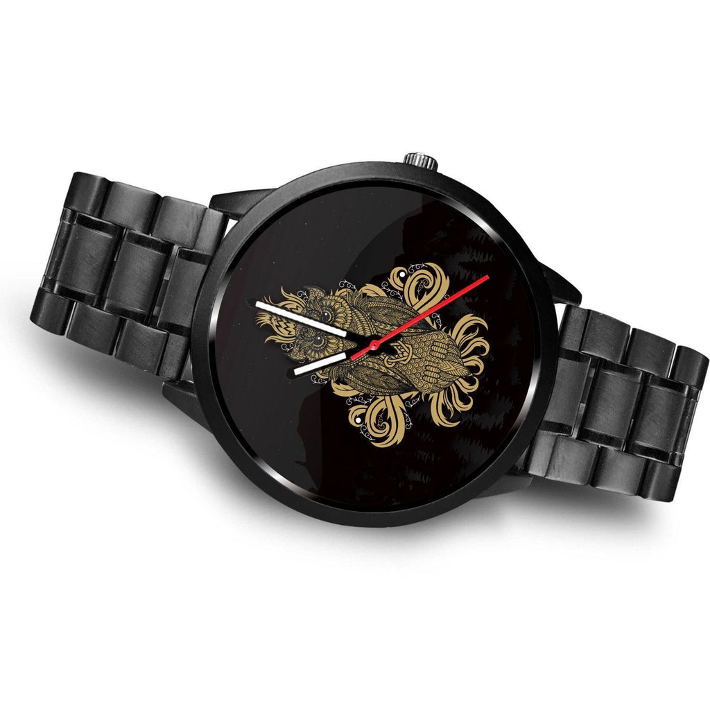 GetSetStyleMetro Watch Mens 40mm / Metal Link Awesome Golden Owl Customized Design Watch