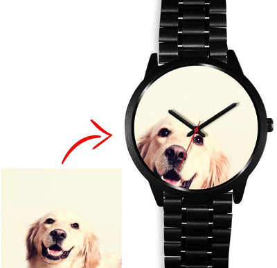 Personalized Photo Watch in Black Case - Get Set Style Metro