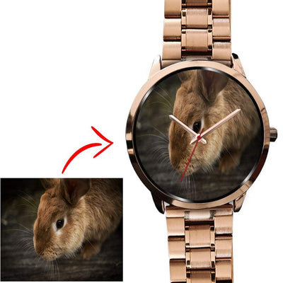 Personalized Photo Watch in Rose Gold Case - Get Set Style Metro