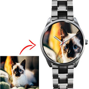 Personalized Photo Watch in Silver Case - Get Set Style Metro