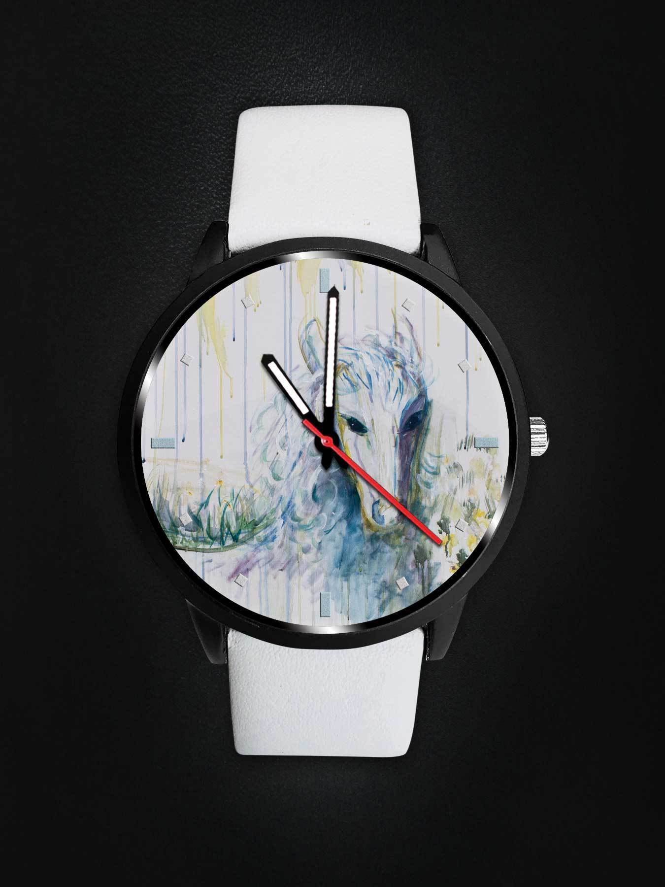 White Horse Abstract Watch Design by artist Avonelle Kelsey (1931-2009) - Get Set Style Metro