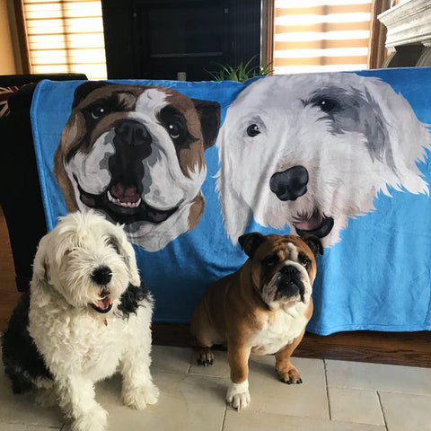 print your dog on a fleece blanket