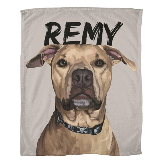 art of your dog on a fleece blanket