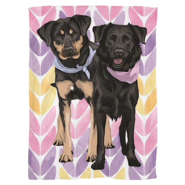 custom hand drawn pet blanket