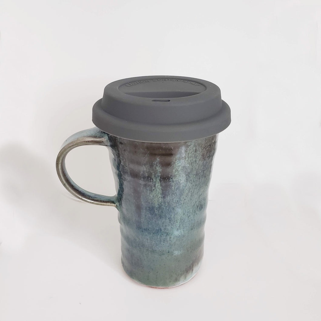 Handmade Travel Mug, Copper-Green