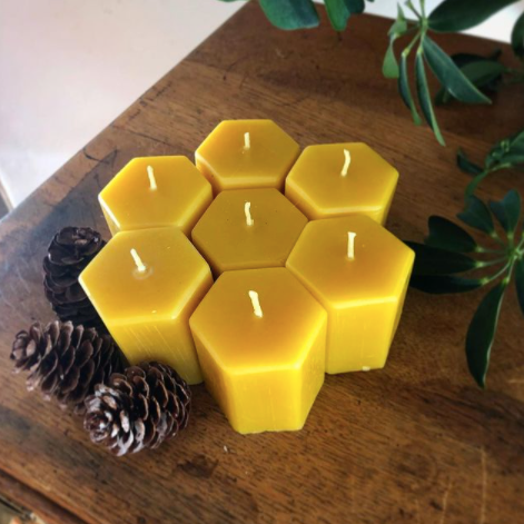 Hexagon Beeswax Votive Candle