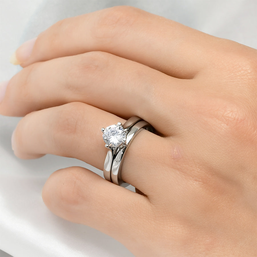 Womens 1.0 Carat Wedding BAND Anniversary RING Set Sterling Silver