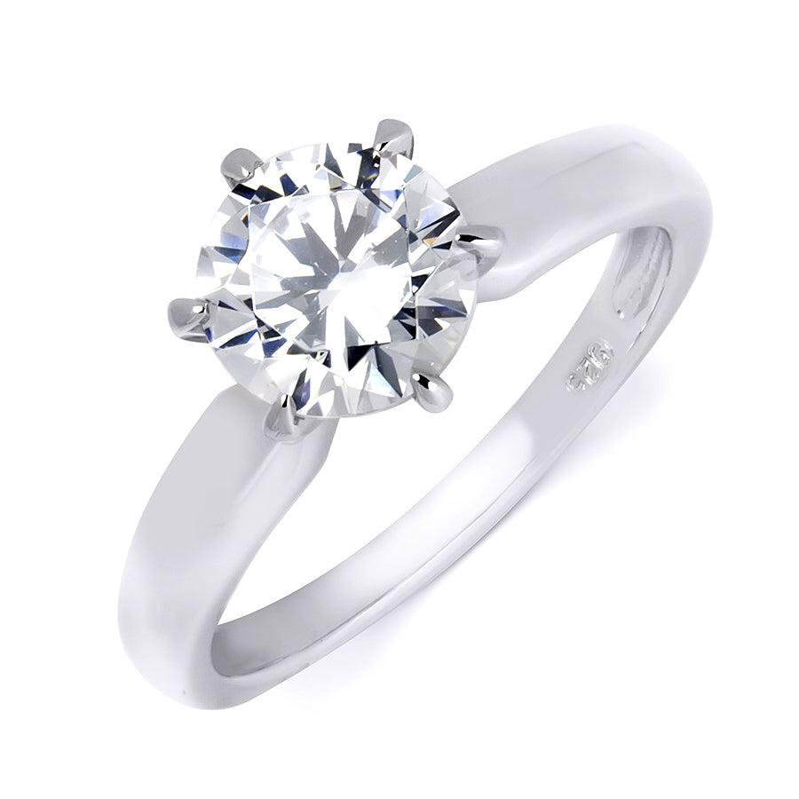 925 Sterling Silver CZ Brilliant Solitaire Wedding Band Ring 1.0 CT