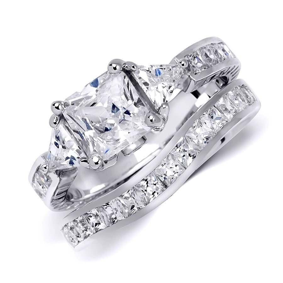 Womens 4.5 Carat Princess Cut Wedding Band Engagement Ring Set Silver