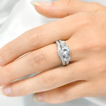 3.5 CT Round Cut Wedding Band Engagement Ring Set Bridal Silver