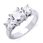 2.5 CT Sterling Silver Platinum Finish Princess Cut Three Stone Engagement Ring