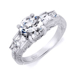 Antique Style Sterling Silver Engagement Ring 2.75 Carats