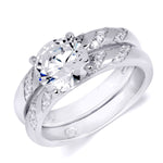 1.25 CT Round Cut Wedding Band Engagement Ring Set Sterling Silver