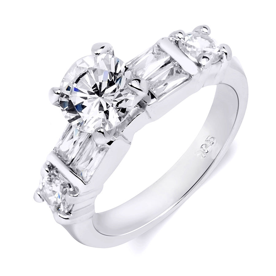 2.25 Carat Sterling Silver Round Cut Bridal Engagement Ring