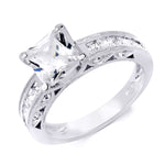 1.3 CT Sterling Silver Princess Cut Channel Set Wedding Ring