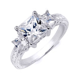 Sterling Silver Antique Style 2.5 CT Princess Cut Wedding Ring