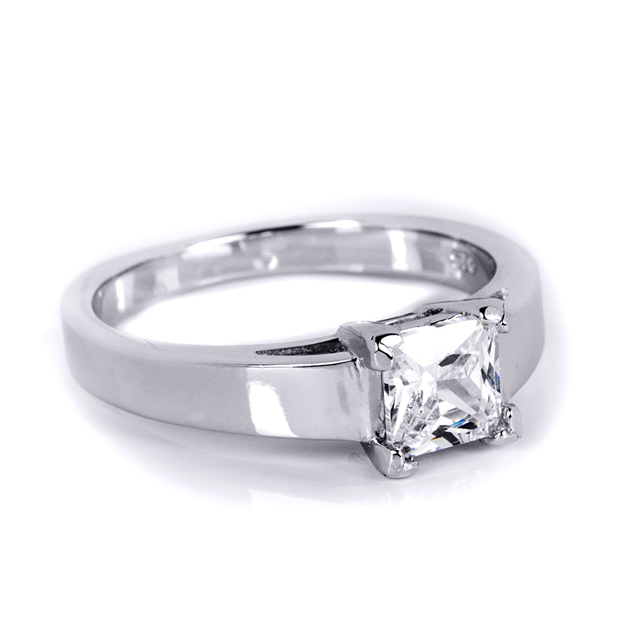 1.00 CT Princess Cut Solitaire Engagement Ring Platinum Sterling Silver
