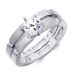 0.5 CT Sterling Silver Wedding Engagement RING Set
