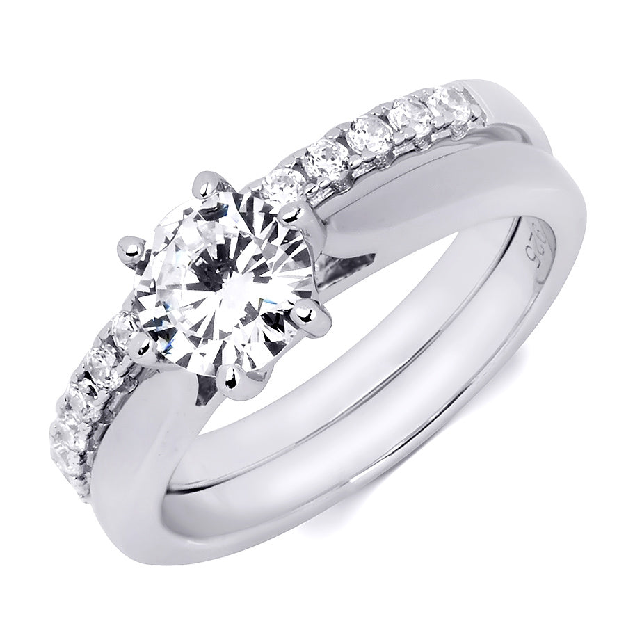 1.5 Carat Round Cut Sterling Silver Wedding BAND Engagement RING Set
