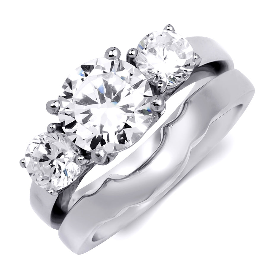 Womens Delicate 3-Stone Ring Classic 3.0 CT Bridal Set Sterling Silver