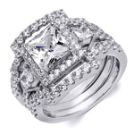 4.0 Carat CZ Womens 3 pcs Wedding BAND Engagement RING Set Sterling Silver
