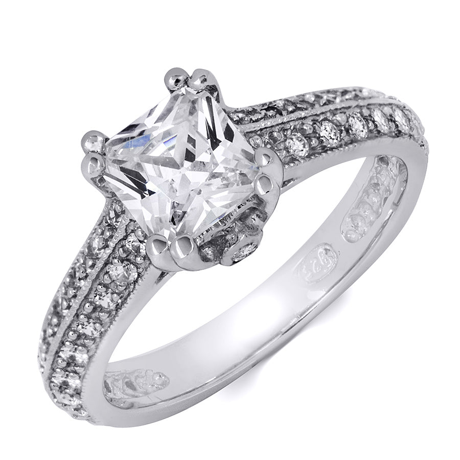 1.5 CT Sterling Silver Princess Cut Engagement Ring