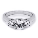 1.5 CT Sterling Silver Platinum Finish Three Stone Bridal Ring